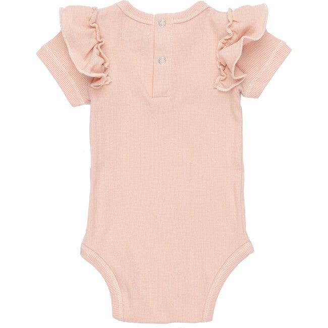 Baby Eden Ruffle Shoulder Bodysuit, Dusty Pink