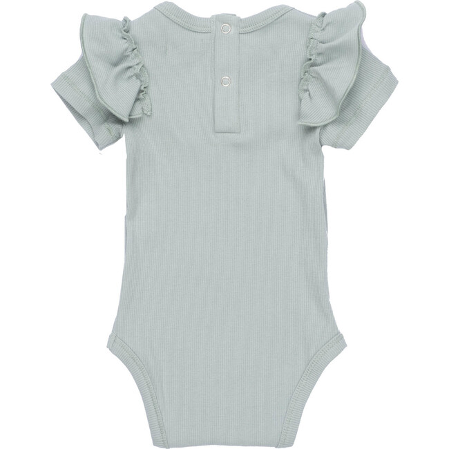 Baby Eden Ruffle Shoulder Bodysuit, Dusty Blue