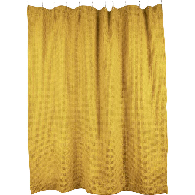 Simple Waffle Shower Curtain, Mustard
