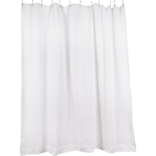 Simple Waffle Shower Curtain, White