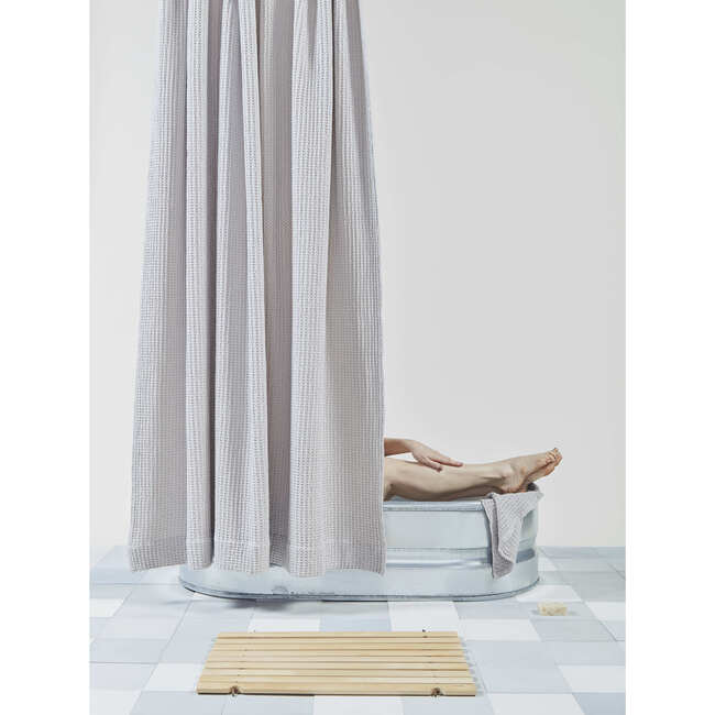 Simple Waffle Shower Curtain, Light Grey