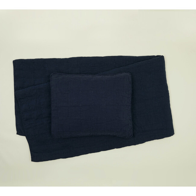 Set of 2 Simple Linen Quilted Shams, Navy