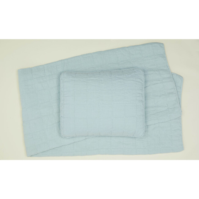 Set of 2 Simple Linen Quilted Shams, Sky