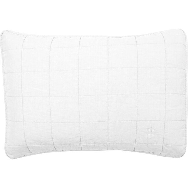 Set of 2 Simple Linen Quilted Shams, White