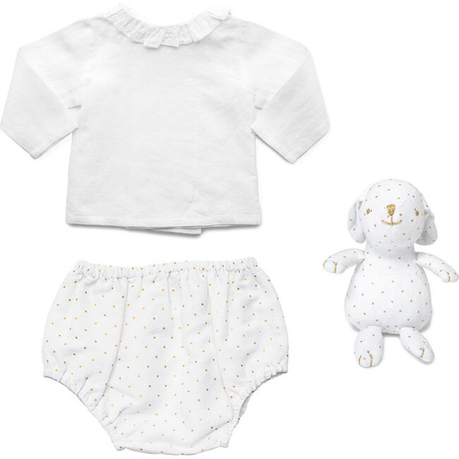 Outfit and Bunny Gold Spot Linen