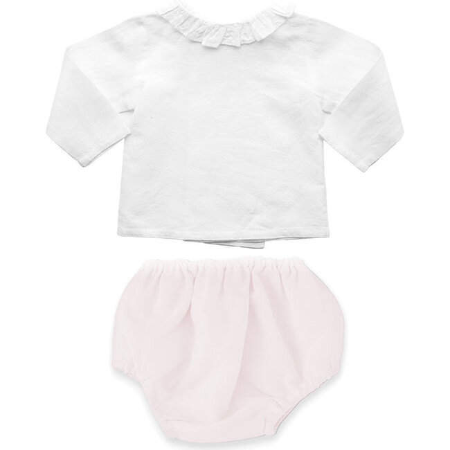 Double Button Blouse & Bloomer Gift Set, Blossom Pink Linen
