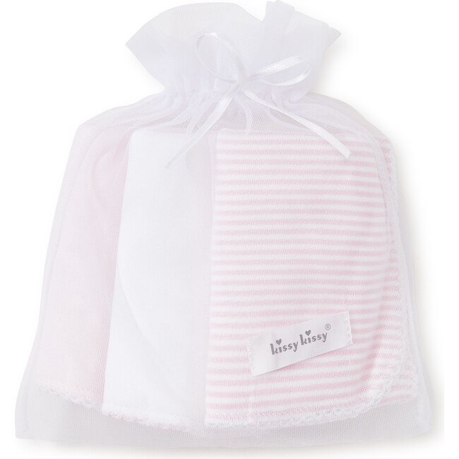 3pc Striped Burp Cloth Set, Pink