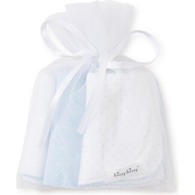 3pc Dotted Burp Cloth Set, Blue
