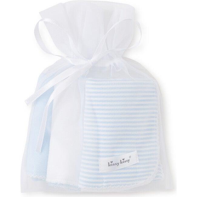 3pc Striped Burp Cloth Set, Blue