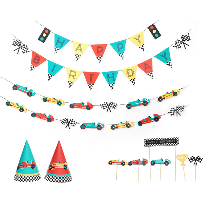 Vintage Race Car Birthday Party Decoration Kit
