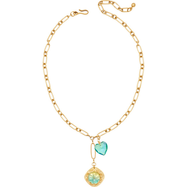 Sangria Y-Necklace, Gold/Lime