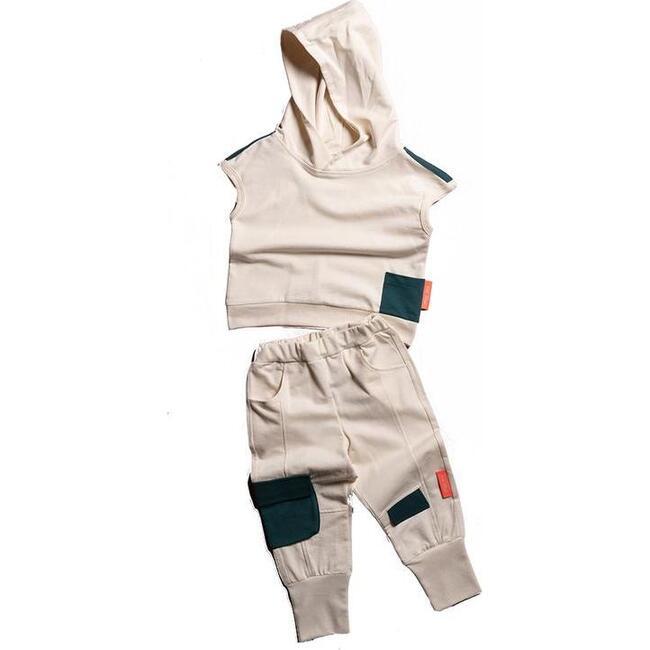 Hooded Tank & Pants Set, Beige - Mixed Apparel Set - 1