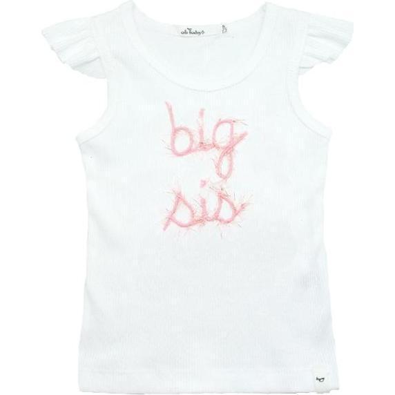 Big Sis Flutter Sleeve Tank, White