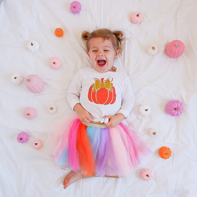 Pumpkin L/S Bodysuit, White