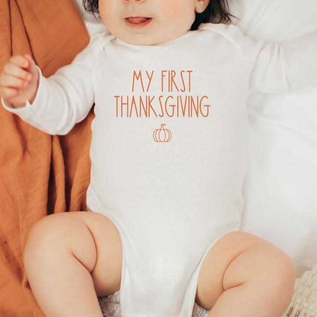 My First Thanksgiving L/S Bodysuit, Natural