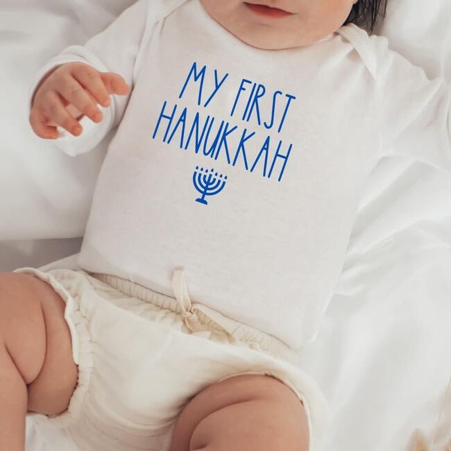 My First Hanukkah L/S Bodysuit, Natural