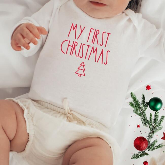 My First Christmas L/S Bodysuit, Natural