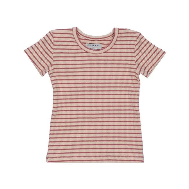 Baby Kai Short Sleeve Tee, Pink & Natural Stripe