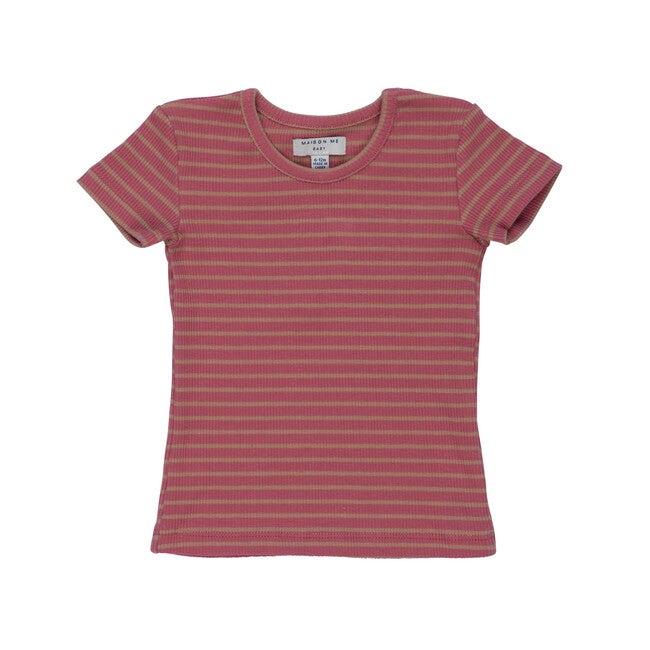 Baby Kai Short Sleeve Tee, Pink & Tan Stripe
