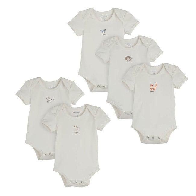 Baby Animal 5 Piece Bodysuit Set, White
