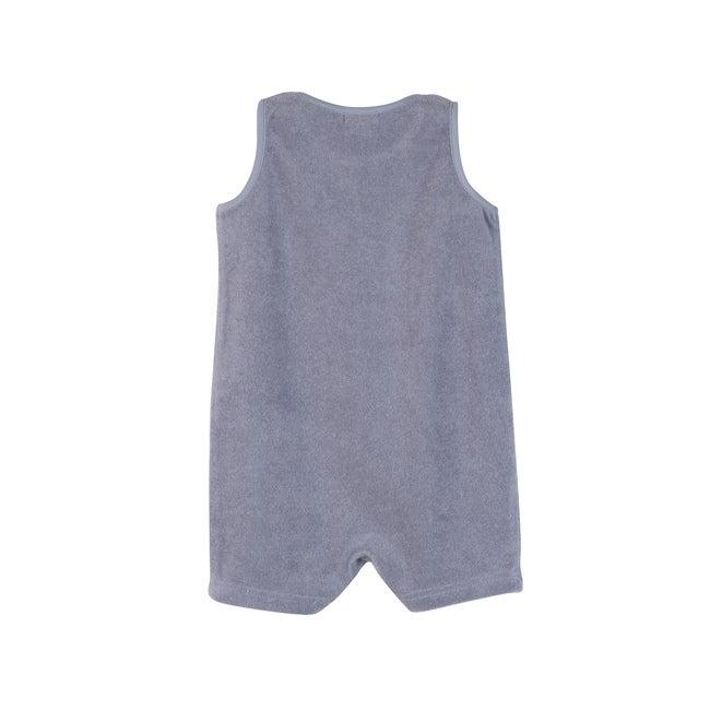 Baby Casey Shorts Romper, Dusty Blue
