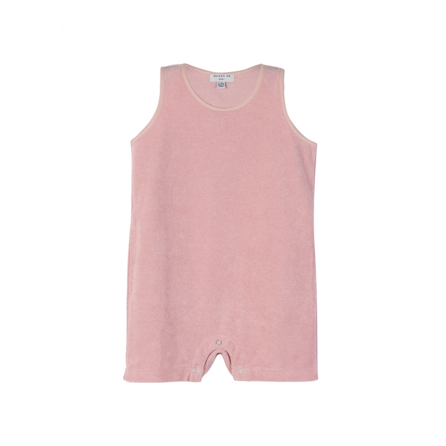 Baby Casey Shorts Romper, Dusty Pink
