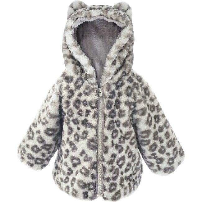 Leopard Faux Fur Hooded Baby Coat