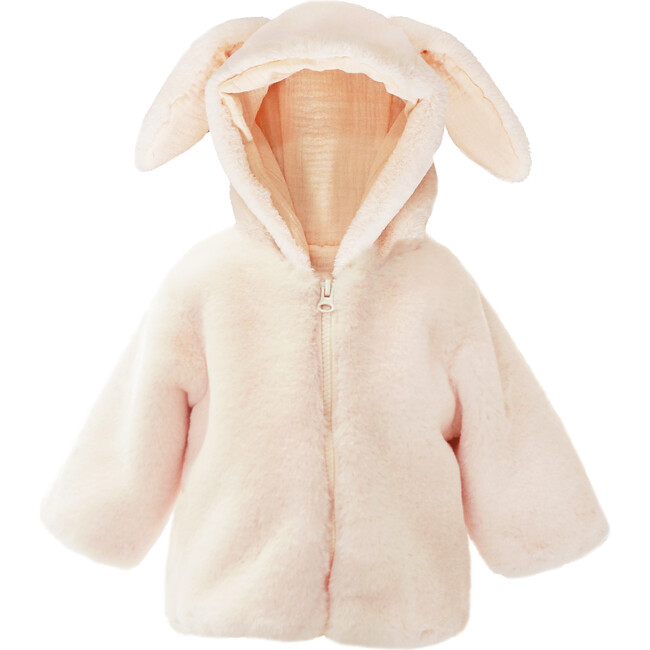 Bunny Faux Fur Hooded Baby Coat, Pink