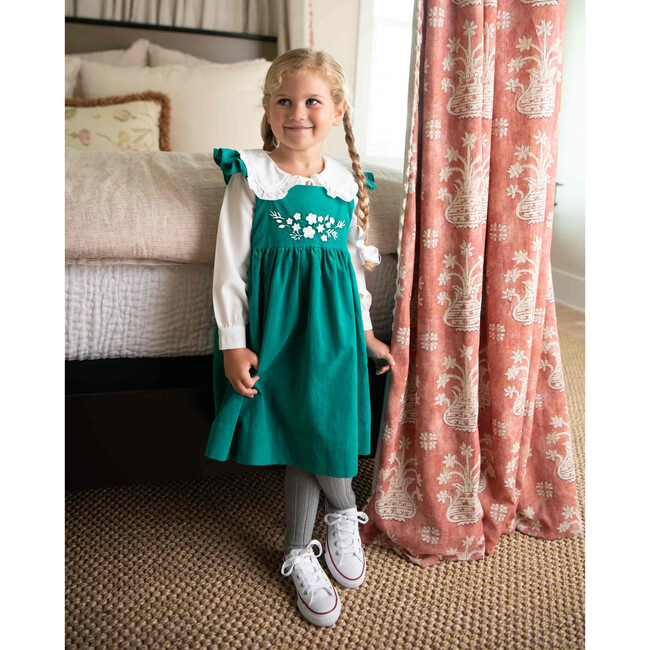 Jumper with Embroidery Detail, Emerald Green