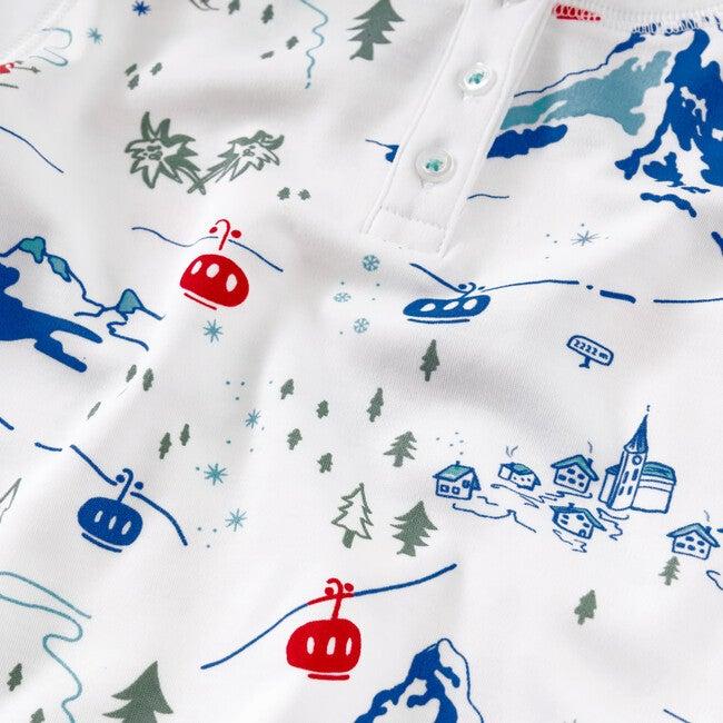 A Swiss Village Pajama Set, Blue