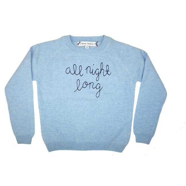"""Sky Crewneck, Navy Embroidered """"all night long"""""""