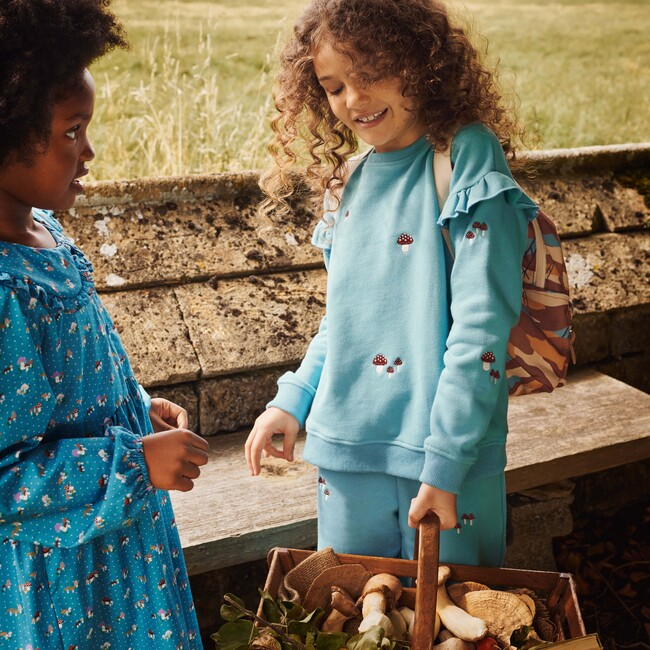 Desiree Sweatshirt, Delphinium Blue Mushrooms