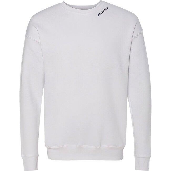 Adult Collar Embroidery Classic Crewneck Fleece, White
