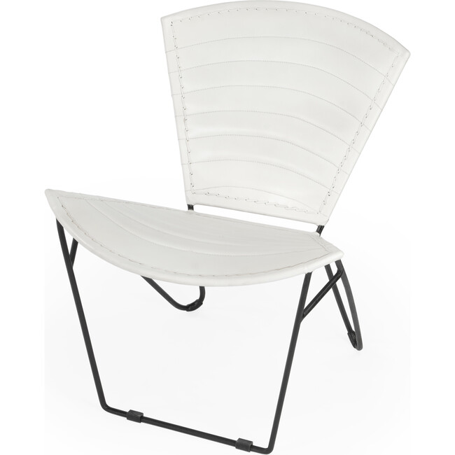 Felix Iron & Leather Accent Chair, White