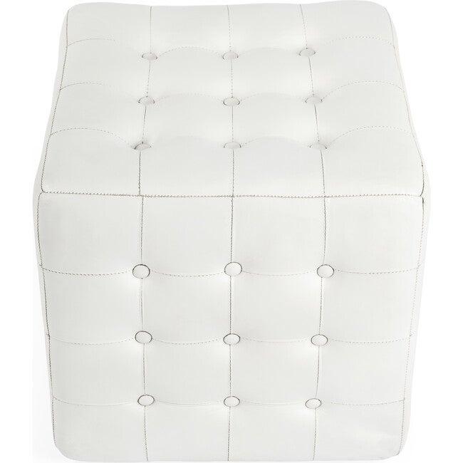 Leon Leather Ottoman, White