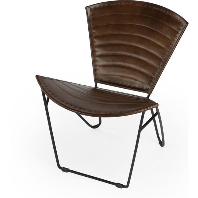 Felix Iron & Leather Accent Chair, Medium Brown