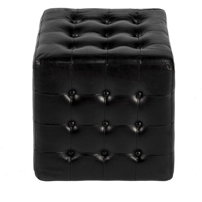 Leon Black Leather Ottoman, Black