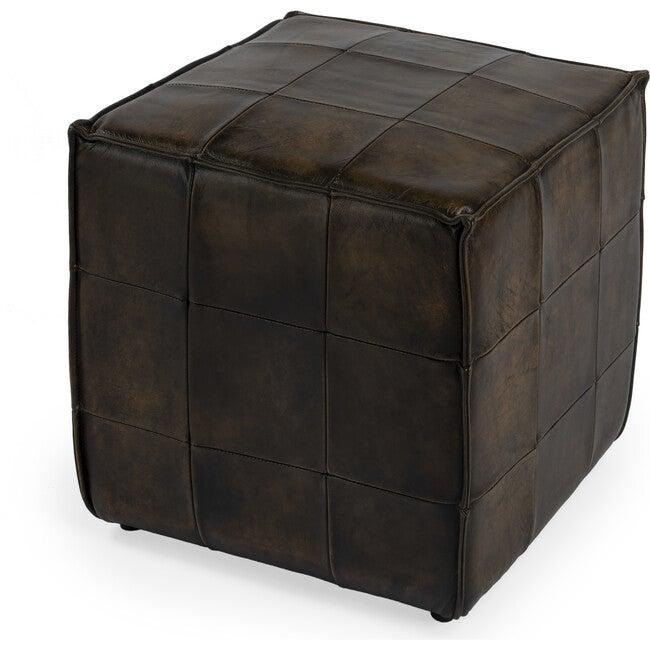 Leon Leather Ottoman, Dark Brown