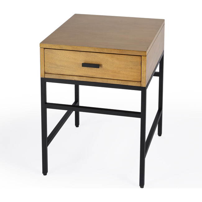 Hans 1 Drawer Wood and Iron End Table, Natural