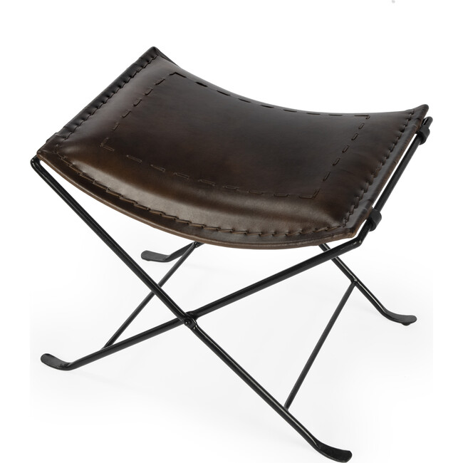 Melton Leather Stool, Dark Brown