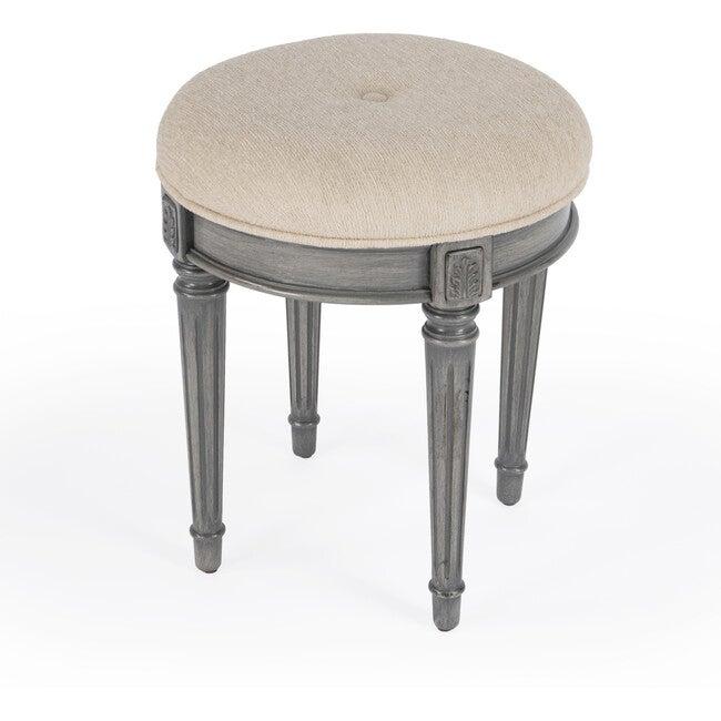 Bernadette Upholstered Vanity Stool, Grey