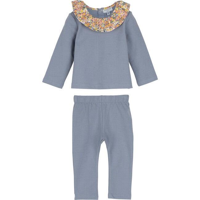 Baby Caterina Jogger Set, Dusty Blue - Mixed Apparel Set - 1