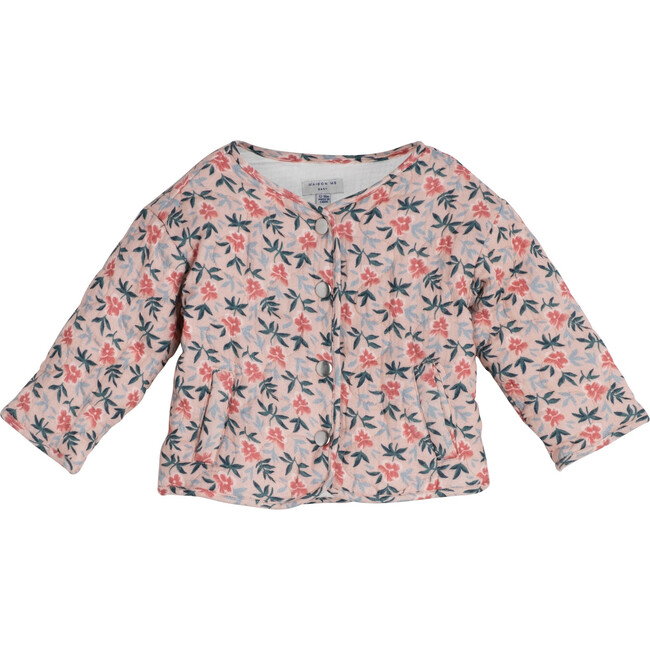Baby Esme Quilted Jacket, Pink Pansies