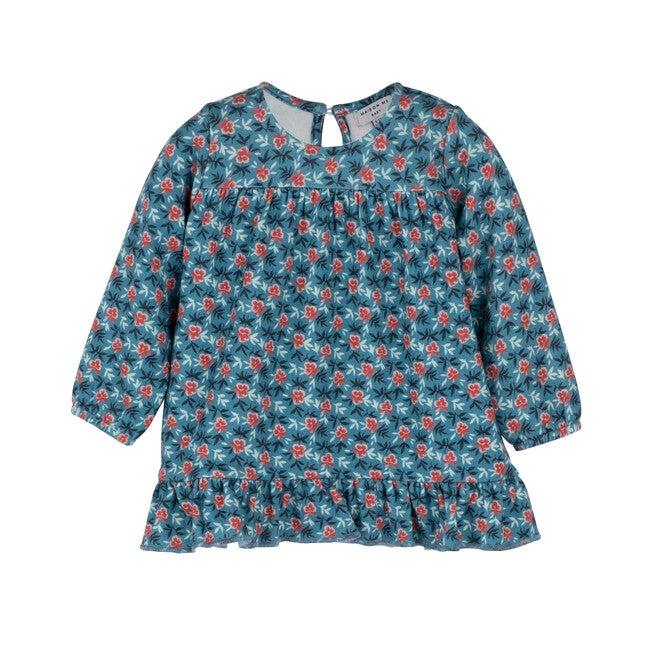 Baby Deja Jersey Dress, Petrol Pansies - Dresses - 1