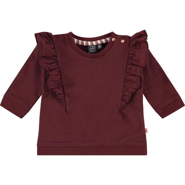 Ruffle Sweatshirt, Red Velvet
