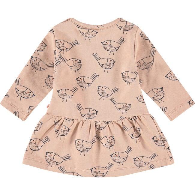 Bird Printed Dress, Faded Salmon