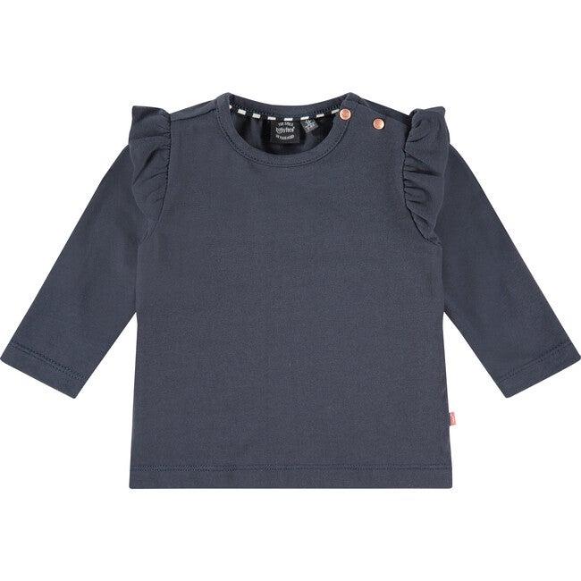 Ruffle Long Sleeve T-Shirt, Blue Sea