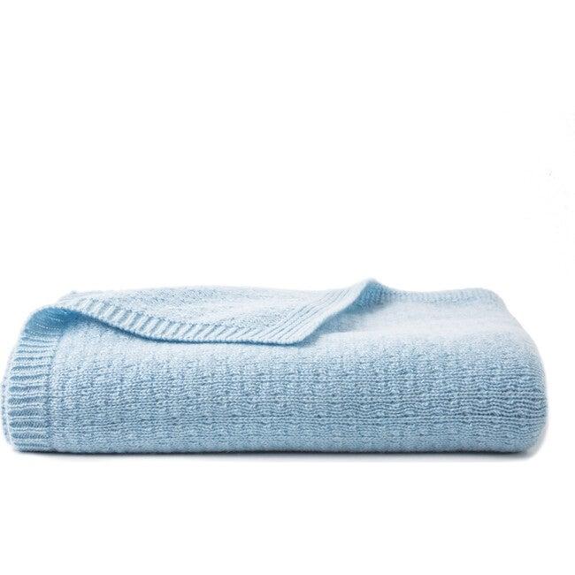 Tucked Stitch Cashmere Blanket, Blue