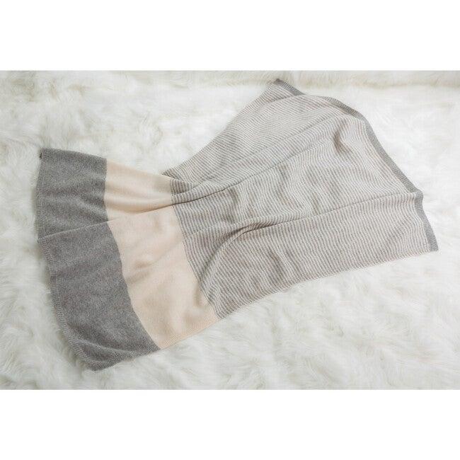 Striped Cashmere Blanket, Grey/White