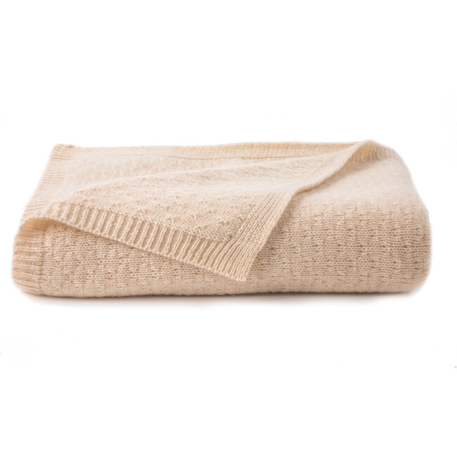 Tucked Stitch Cashmere Blanket, Oatmeal